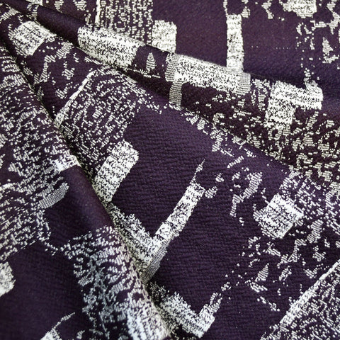 Block Texture Double Knit Eggplant/White