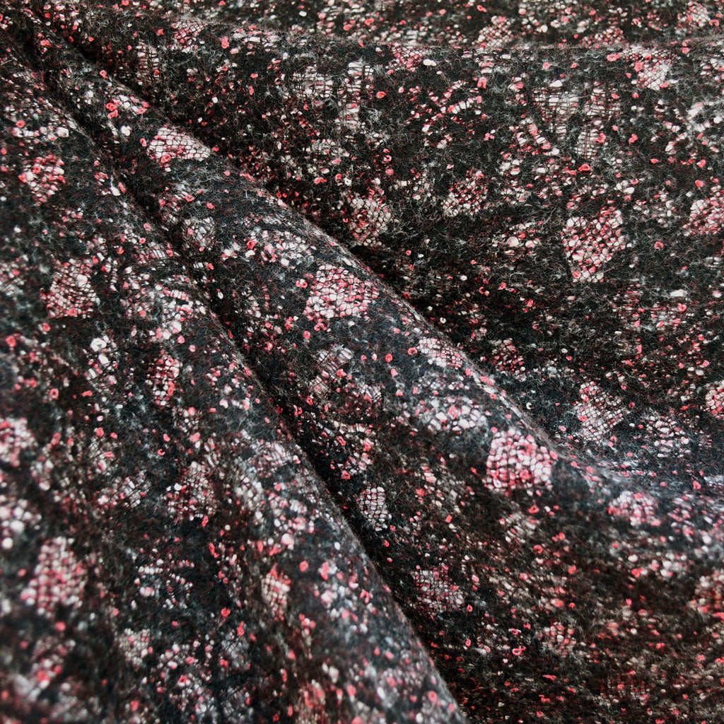 Layered Collage Tweed Coating Black/Cranberry - Fabric - Style Maker Fabrics