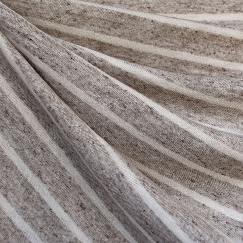 Heathered Stripe French Terry Taupe/Cream