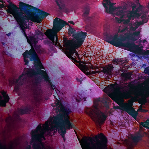 Large Distressed Floral Scuba Knit Magenta/Plum