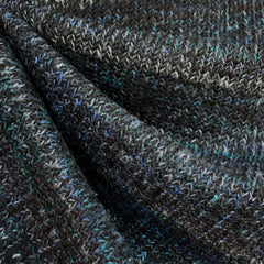 Chunky Variegated Sweater Knit Black/Blues - Sold Out - Style Maker Fabrics