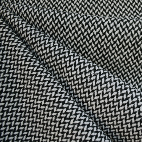 Checkered Herringbone Coating Black/Cream