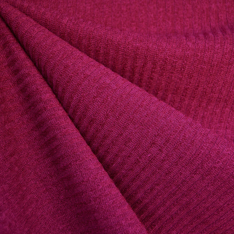 Plush Rib Sweater Knit Solid Magenta SY