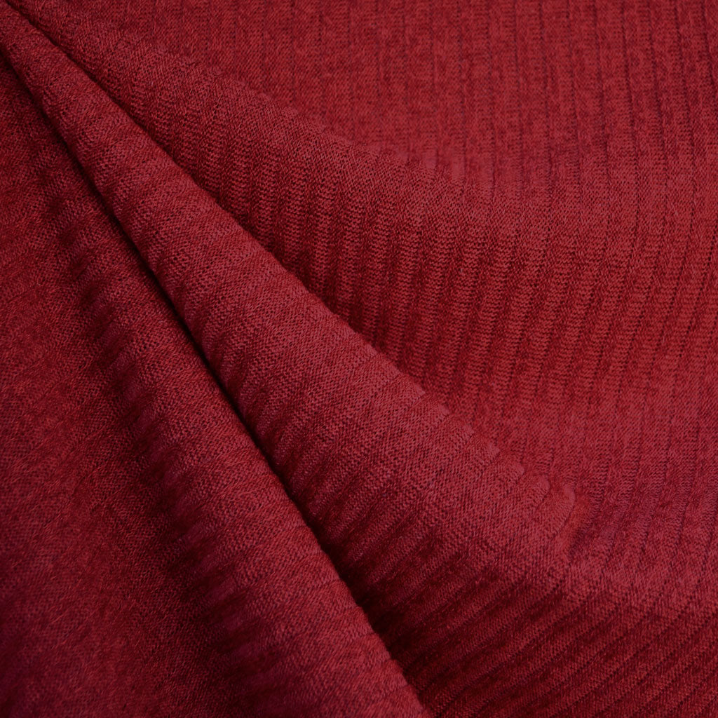 Plush Rib Sweater Knit Solid Ruby - Fabric - Style Maker Fabrics