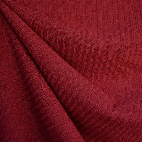 Plush Rib Sweater Knit Solid Ruby