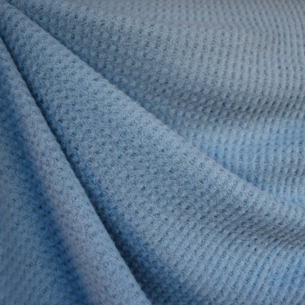 Brushed Waffle Texture Sweater Knit Blue - Fabric - Style Maker Fabrics