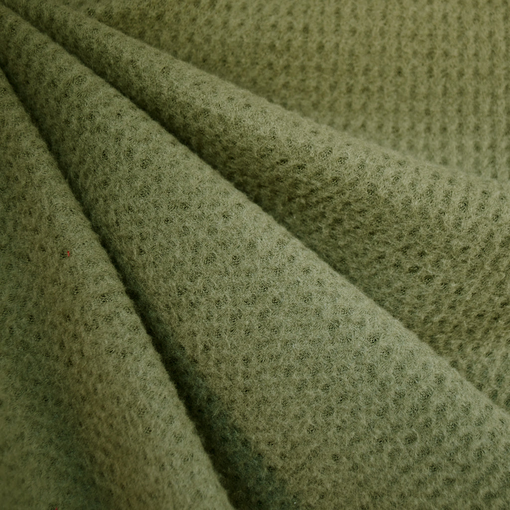 Brushed Waffle Texture Sweater Knit Olive - Fabric - Style Maker Fabrics