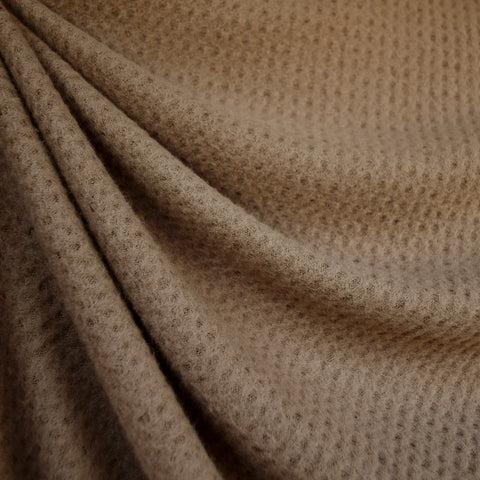 Brushed Waffle Texture Sweater Knit Taupe