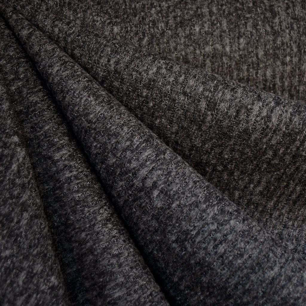 Brushed Rib Sweater Knit Charcoal - Fabric - Style Maker Fabrics