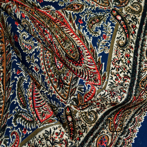 Paisley Single Border Print Rayon Crepe Navy/Red