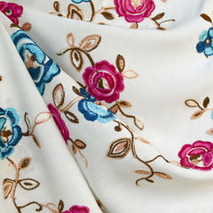 Rose Floral Embroidered Rayon Lawn Cream/Fuchsia - Fabric - Style Maker Fabrics