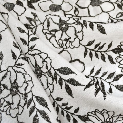 Vine Floral Embroidered Rayon Crepe White/Black