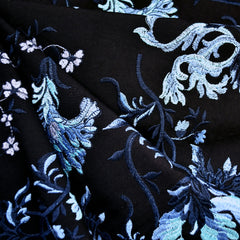 Vine Floral Embroidered Cotton Lawn Black/Blue - Sold Out - Style Maker Fabrics