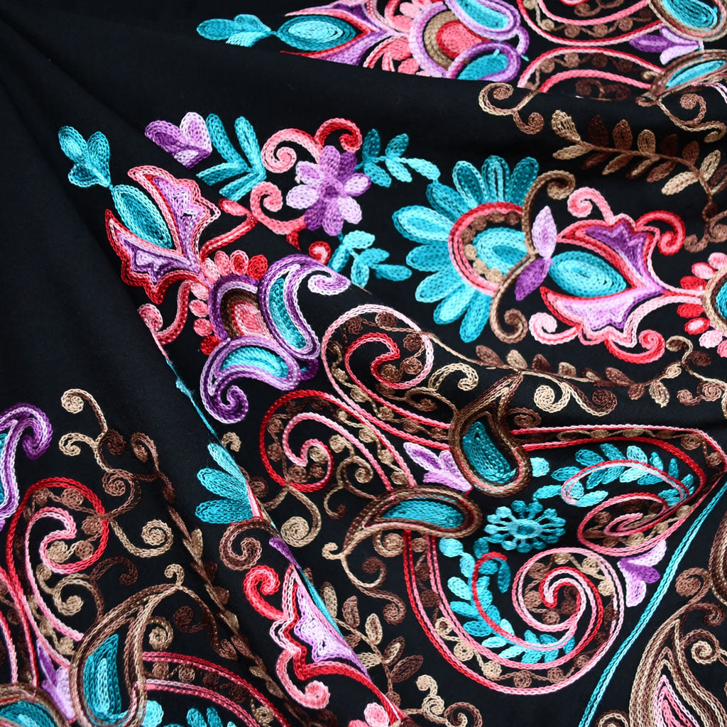 Single Border Embroidered Rayon Lawn Black - Fabric - Style Maker Fabrics