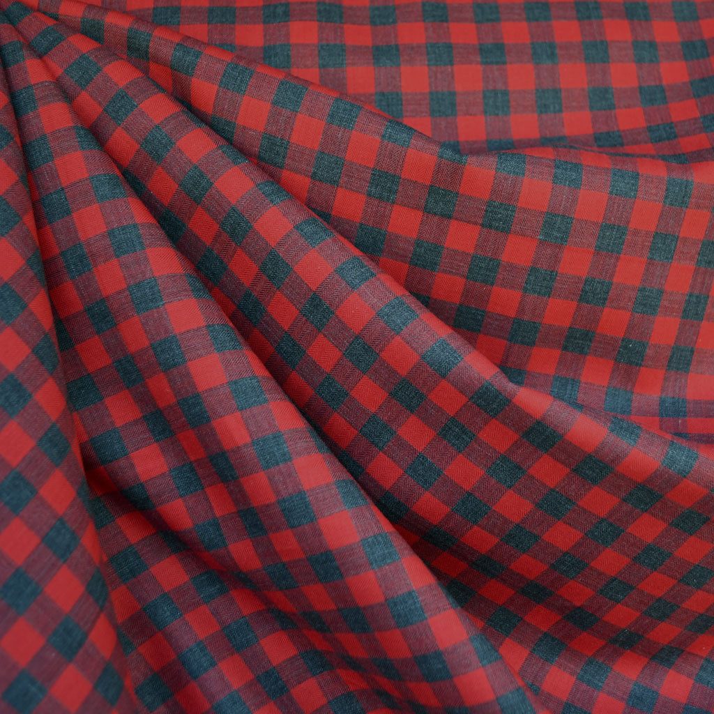 Japanese Herringbone Gingham Shirting Red/Grey - Sold Out - Style Maker Fabrics