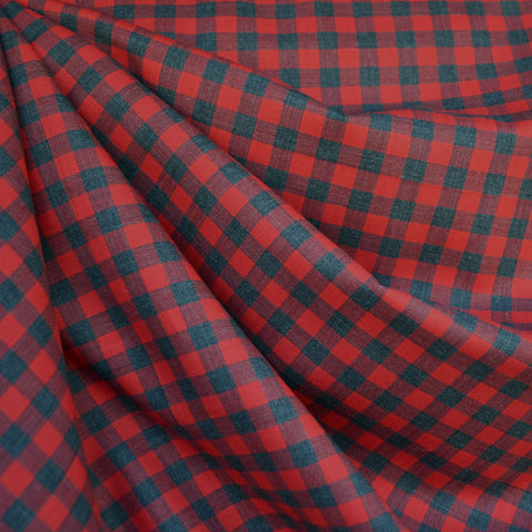 Japanese Herringbone Gingham Shirting Red/Grey