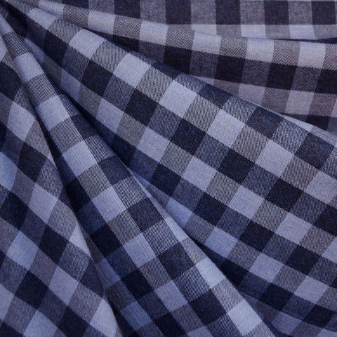 Italian Gingham Flannel Shirting Navy/Denim