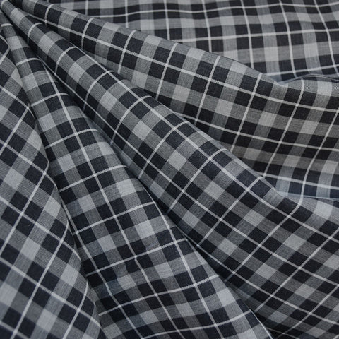 Japanese Square Plaid Twill Weave Shirting Black/Grey