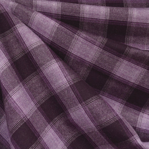 Square Plaid Flannel Shirting Plum