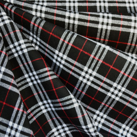Tartan Plaid Flannel Shirting Black/White