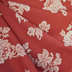 Lace Floral Rayon Crepe Brick/Cream - Sold Out - Style Maker Fabrics