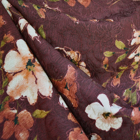 Scroll Floral Jacquard Texture Rayon Crepe Wine