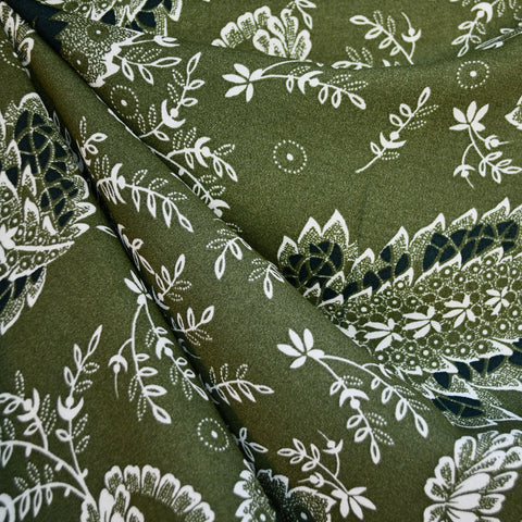 Paisley Floral Rayon Crepe Olive/Navy SY