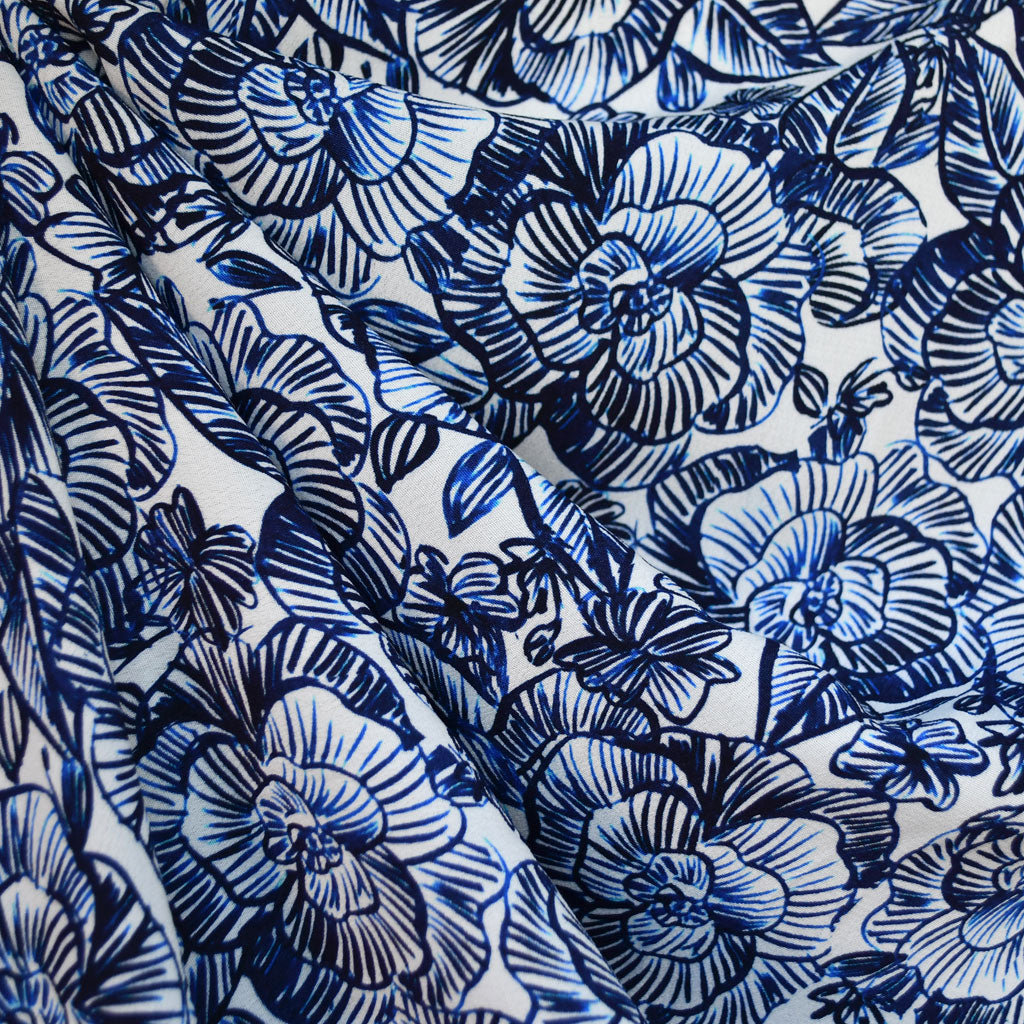 Delft Floral Rayon Crepe Blue/White - Fabric - Style Maker Fabrics
