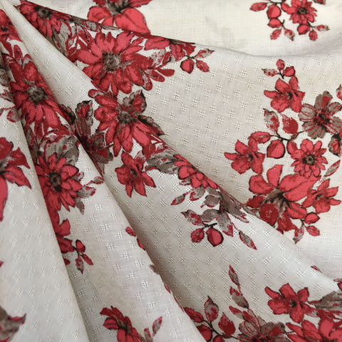 Floral Bouquet Dobby Texture Rayon Vanilla/Cherry