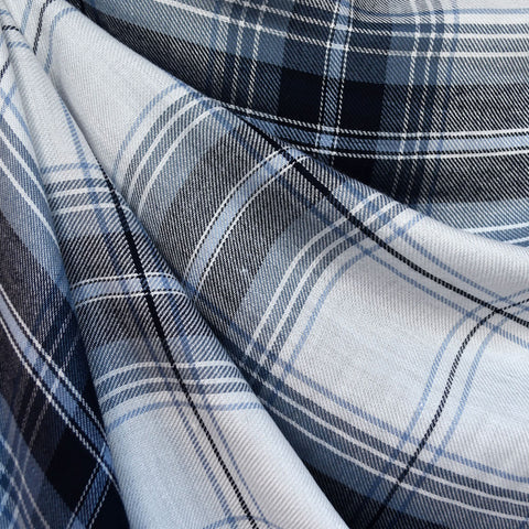 Giant Plaid Twill Weave Rayon Shirting Denim