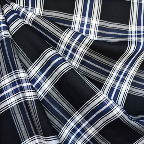 Tartan Plaid Twill Weave Rayon Shirting Black/Navy
