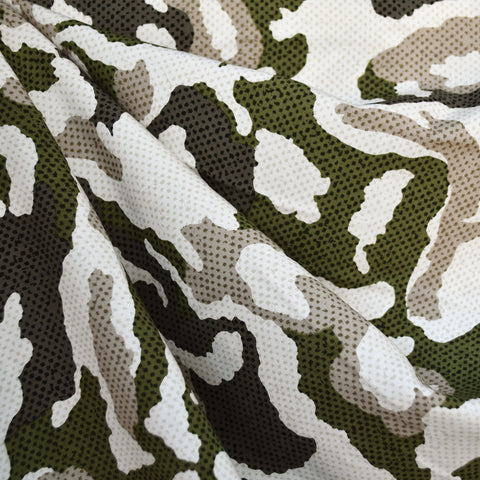 Pixel Camouflage Print Rayon Challis Olive SY