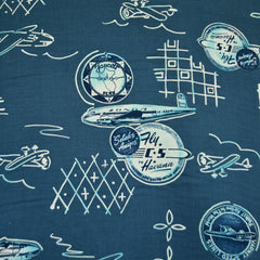 Vintage Airplane Rayon Shirting Denim - Fabric - Style Maker Fabrics