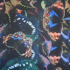 Butterfly Collage Sheer Black/Multi - Fabric - Style Maker Fabrics