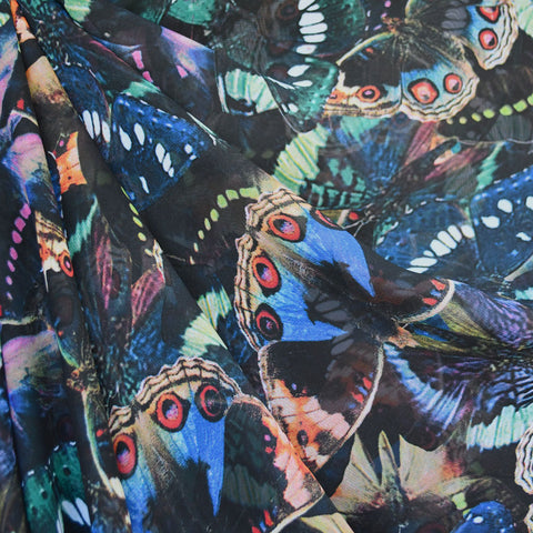 Butterfly Collage Sheer Black/Multi