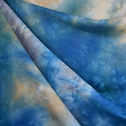 Marbled Hand Dyed Rayon Challis Blue
