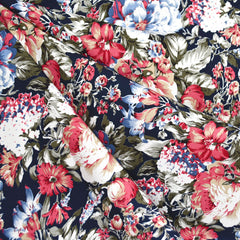 Romantic Floral Challis Navy - Fabric - Style Maker Fabrics