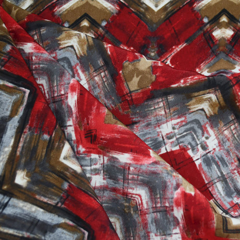 Abstract Brushstroke Chevron Challis Crimson SY