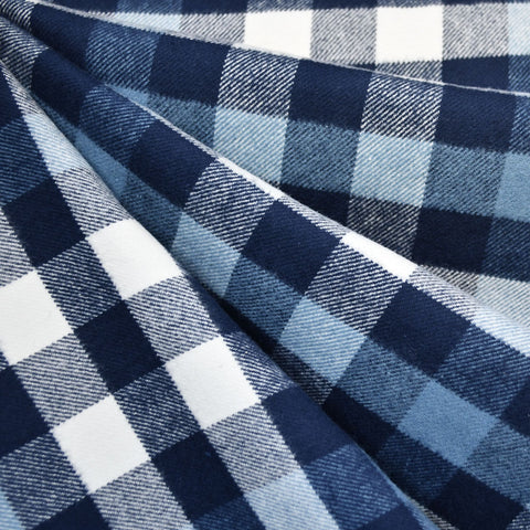 Cozy Cotton Flannel Check Plaid Navy
