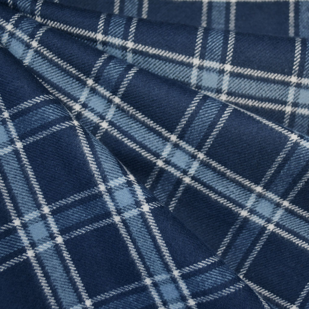 Cozy Cotton Flannel Simple Plaid Navy - Fabric - Style Maker Fabrics