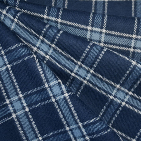 Cozy Cotton Flannel Simple Plaid Navy