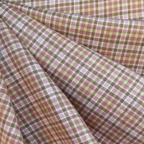 Cozy Cotton Flannel Mini Check Plaid Rose