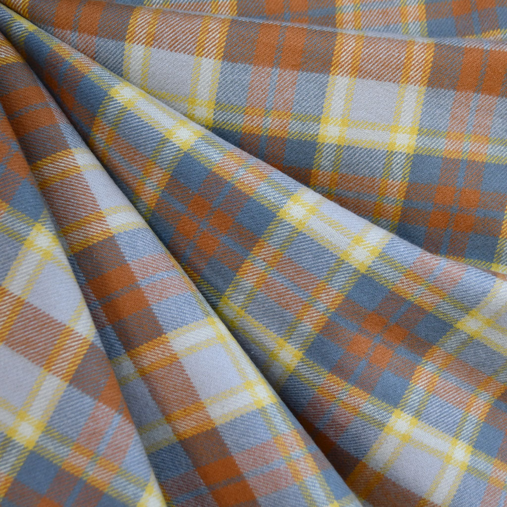 Cozy Cotton Flannel Layered Plaid Grey/Pumpkin SY - Selvage Yard - Style Maker Fabrics