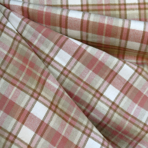 Cozy Cotton Flannel Layered Plaid Rose