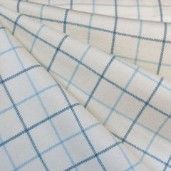 Cozy Cotton Flannel Windowpane Plaid Cream/Blue SY - Selvage Yard - Style Maker Fabrics