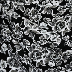 Tonal Rose Floral Rayon Challis Black/Grey - Fabric - Style Maker Fabrics