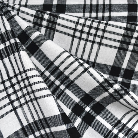 Bold Plaid Flannel Shirting White/Black