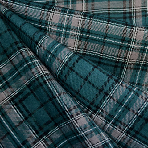 Grid Plaid Flannel Shirting Teal/Grey