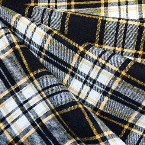 Tartan Plaid Flannel Shirting Black/Gold