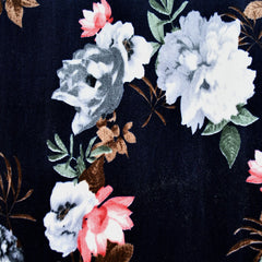 Romantic Rose Stretch Velvet Navy SY - Selvage Yard - Style Maker Fabrics